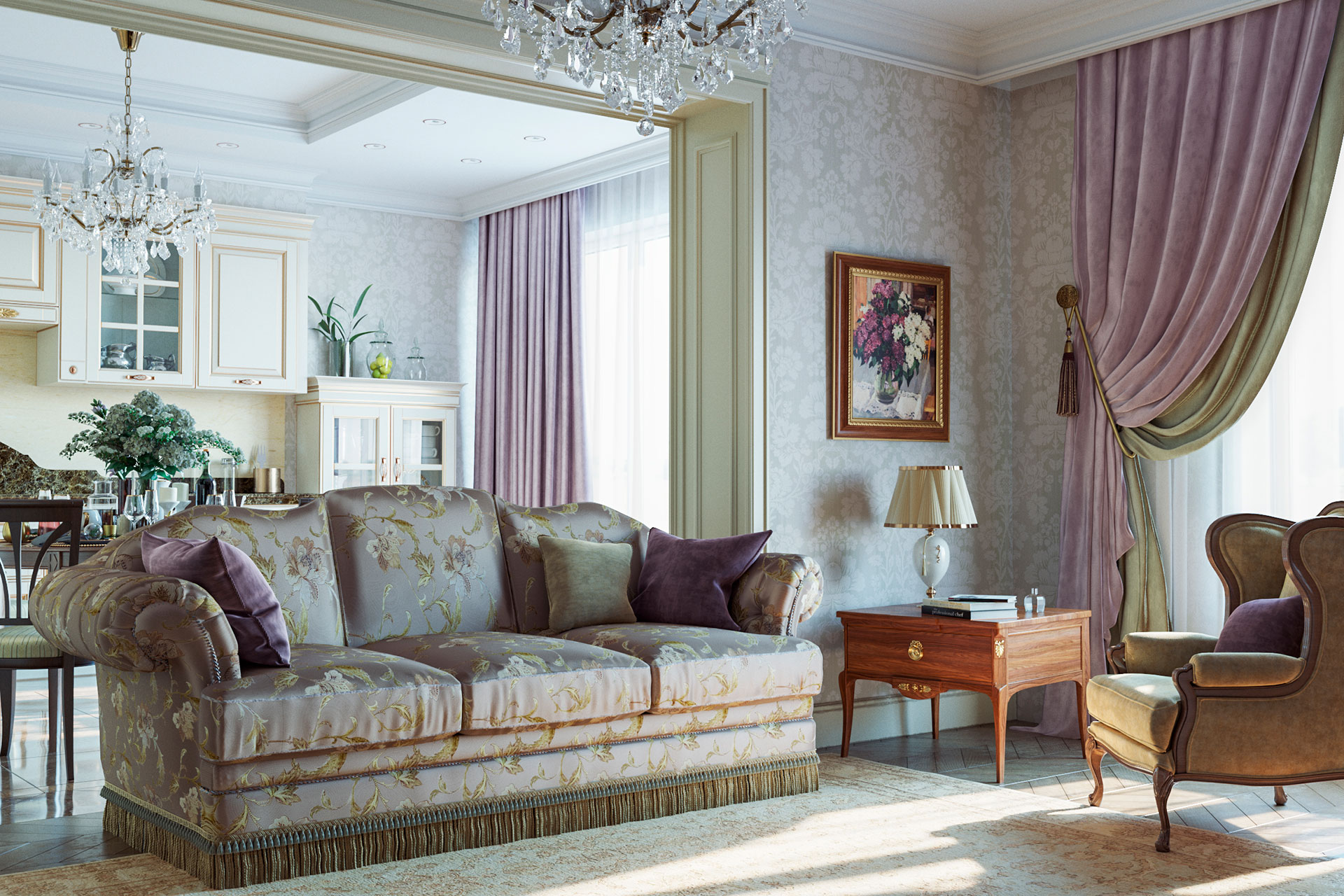 3D-визуализация квартиры в классическом стиле
