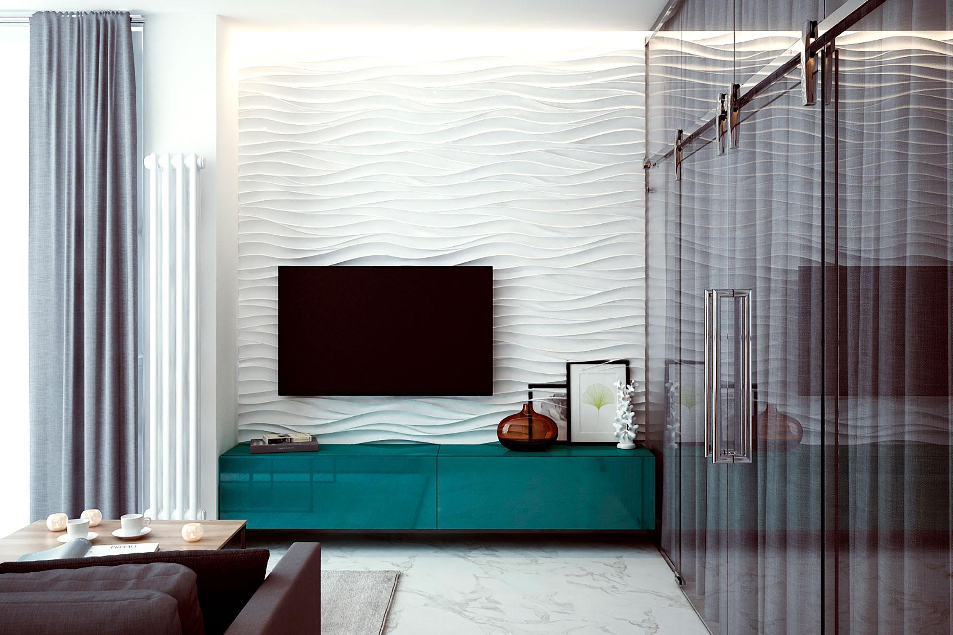 Визуализация интерьера квартиры в современном стиле в ЖК Мосфильмовский