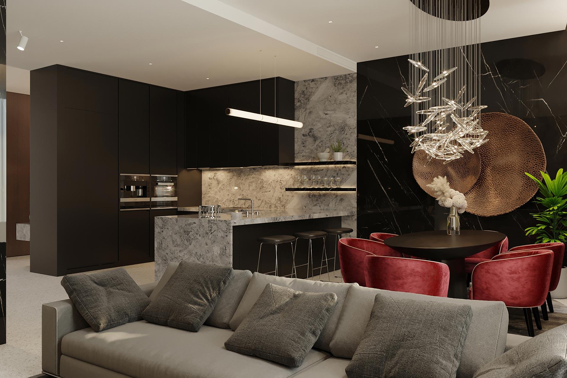3D-визуализация интерьера квартиры в ЖК Садовые Кварталы