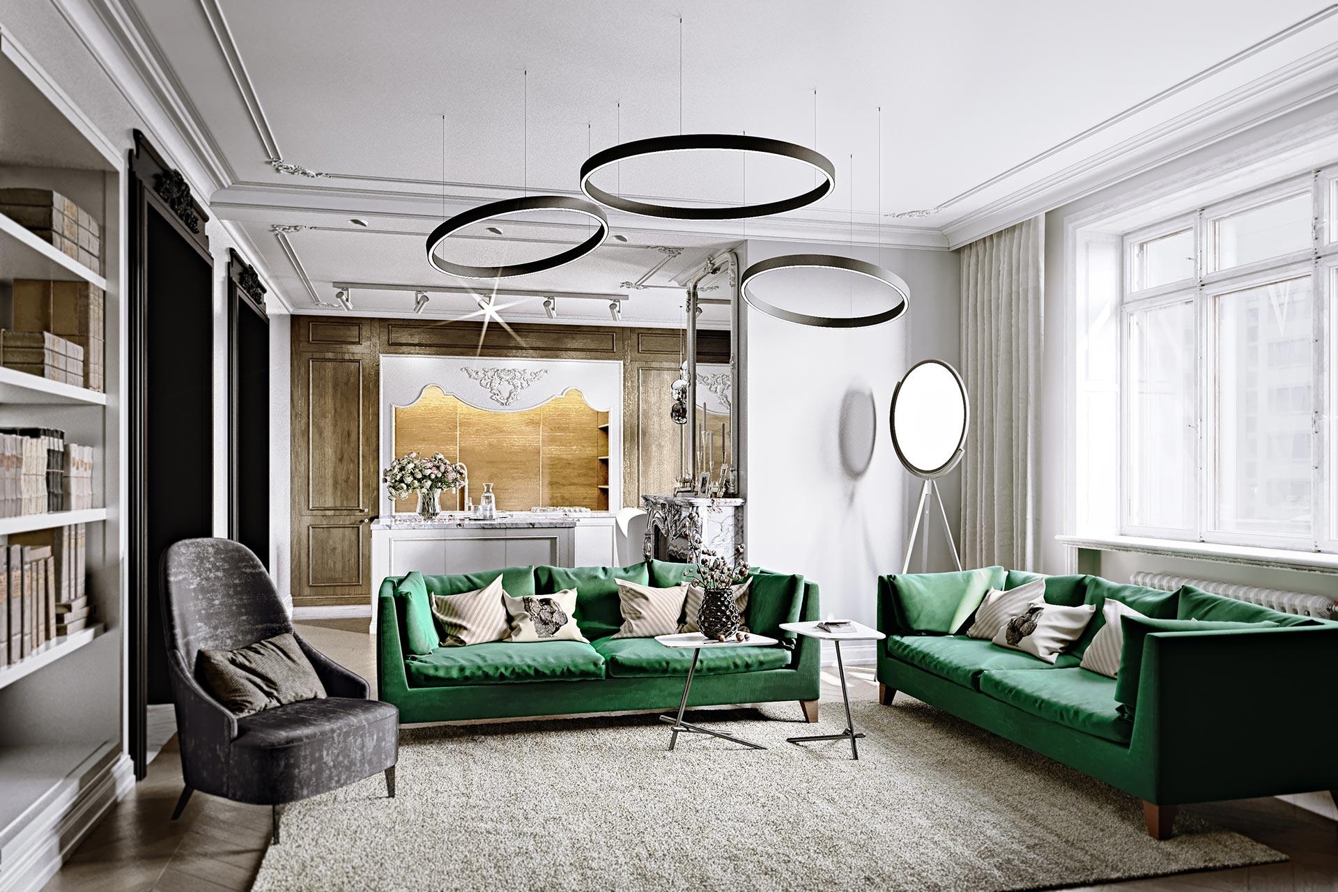3D-визуализация интерьера квартиры в стиле французский классицизм