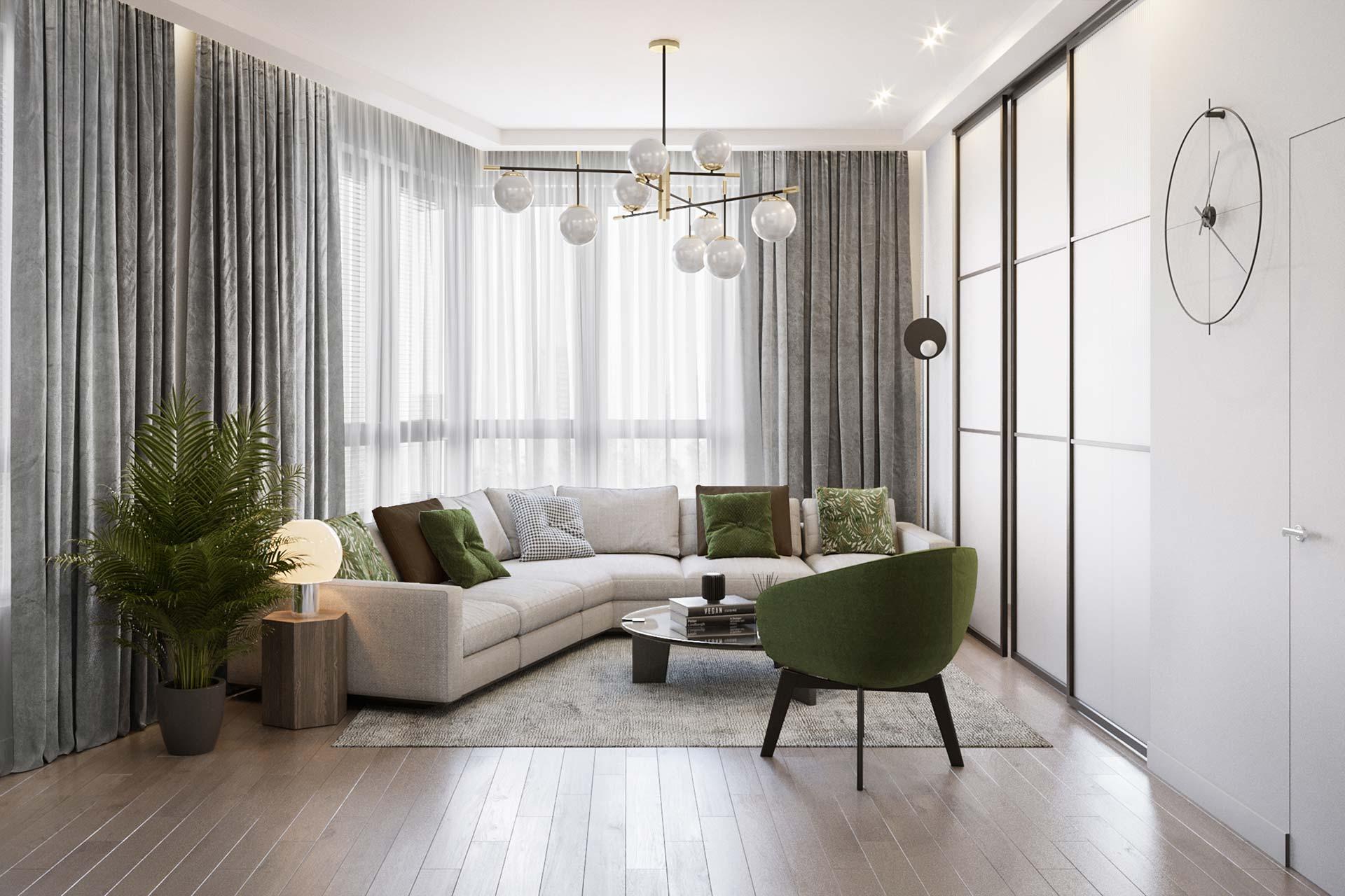 Дизайн 3-комнатной квартиры в ЖК Сердце Столицы | Современный стиль