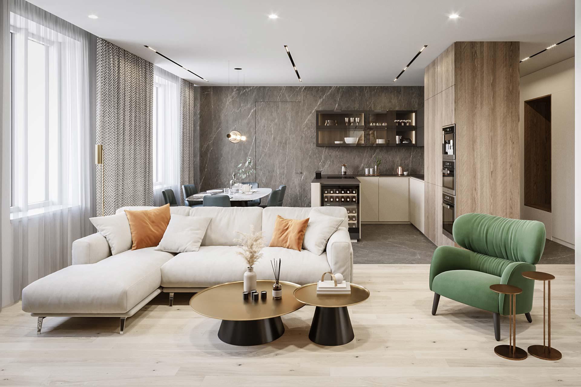 Дизайн 4-комнатной квартиры в ЖК Династия | Современный стиль