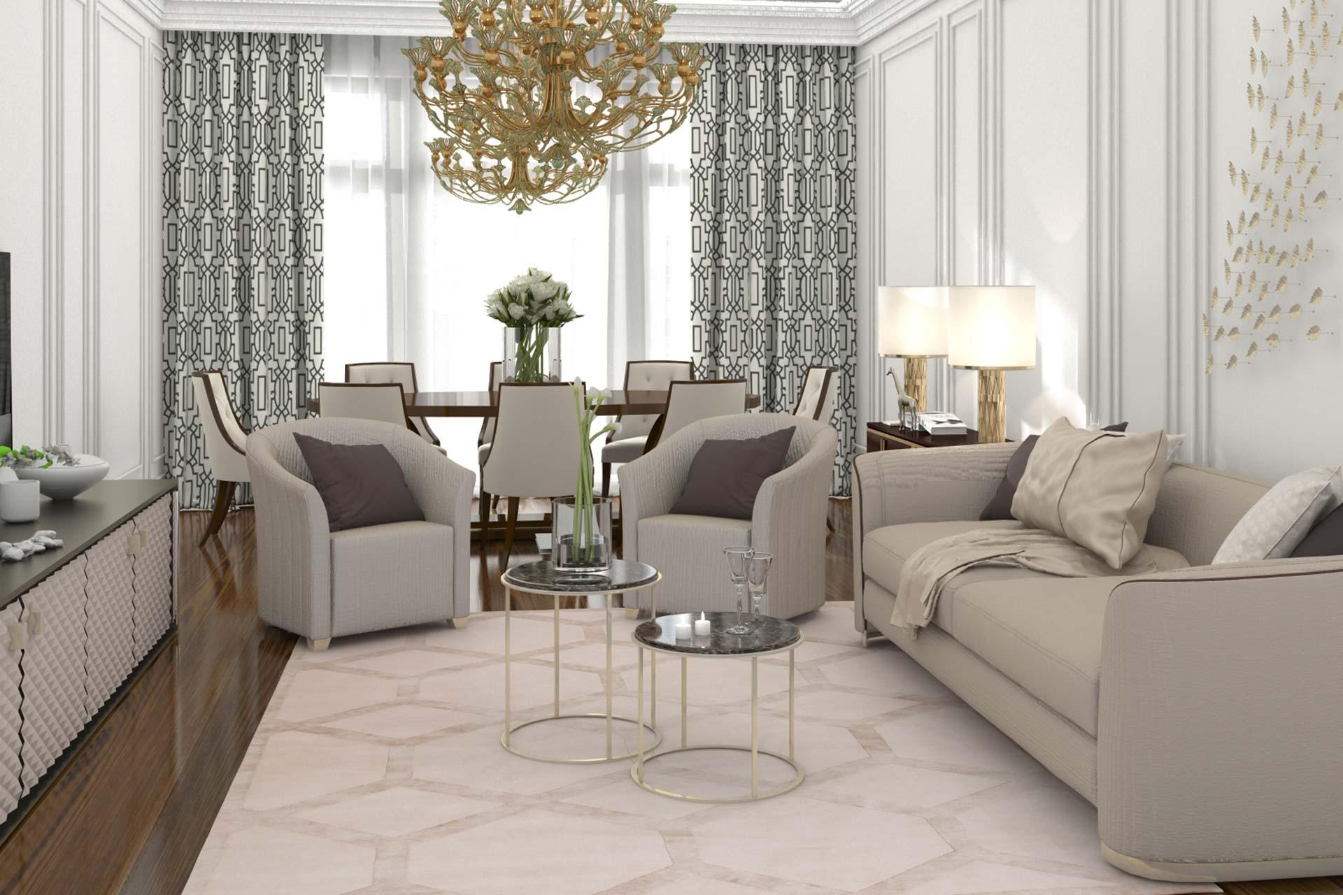 Дизайн интерьера апартаментов в стиле Ар-Деко