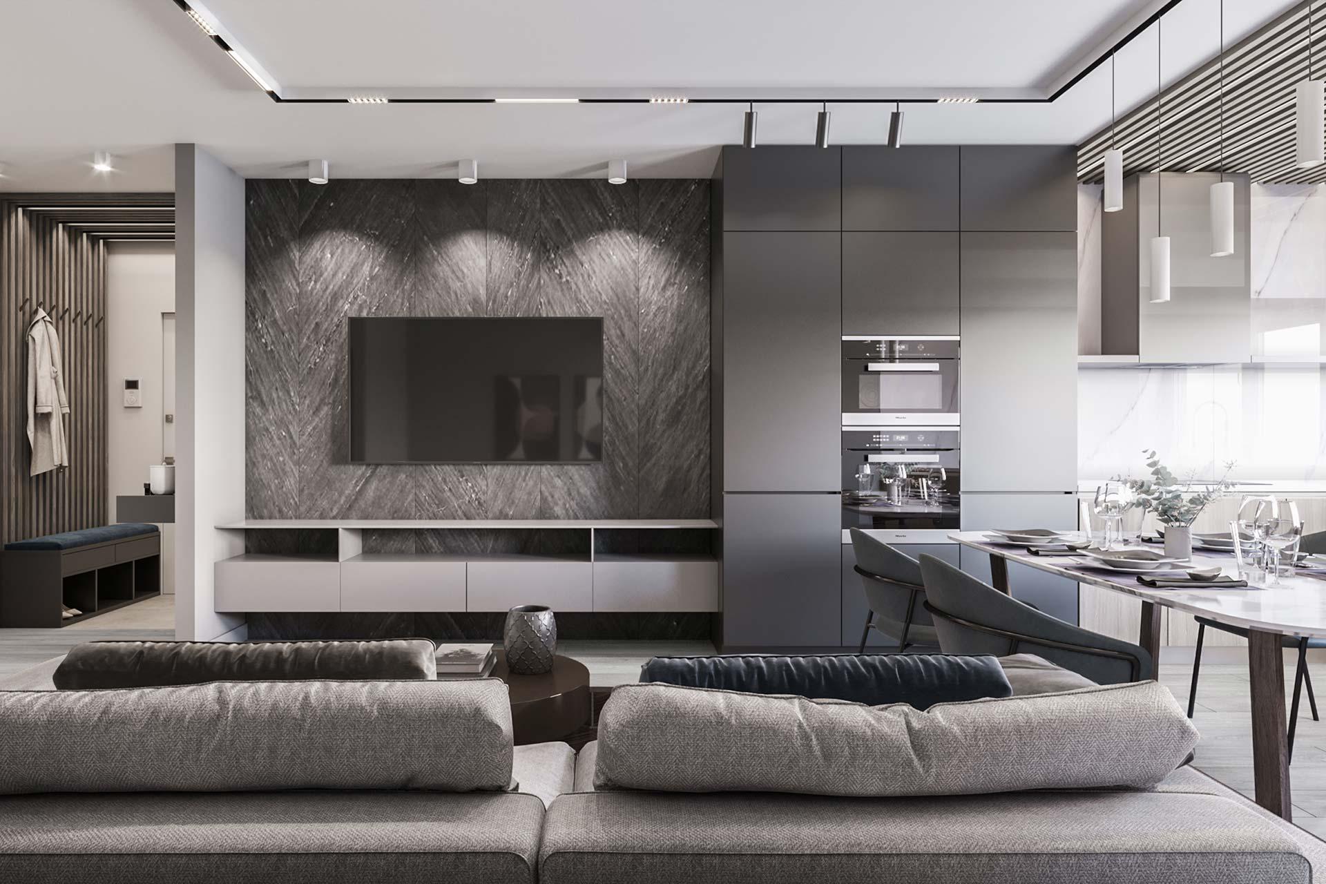 Дизайн интерьера большой квартиры в современном стиле