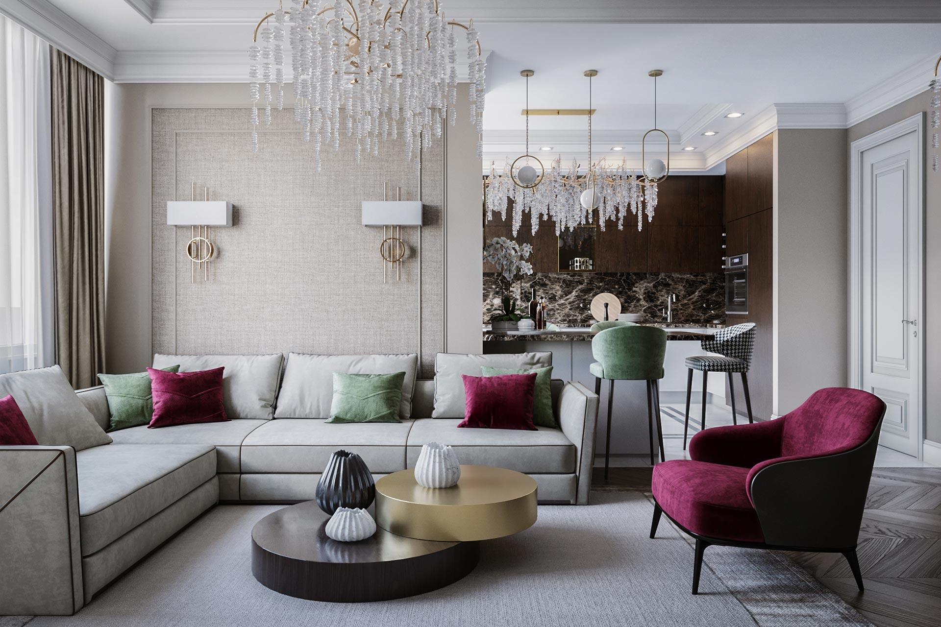 Дизайн интерьера четырехкомнатной квартиры в ЖК Розмарин