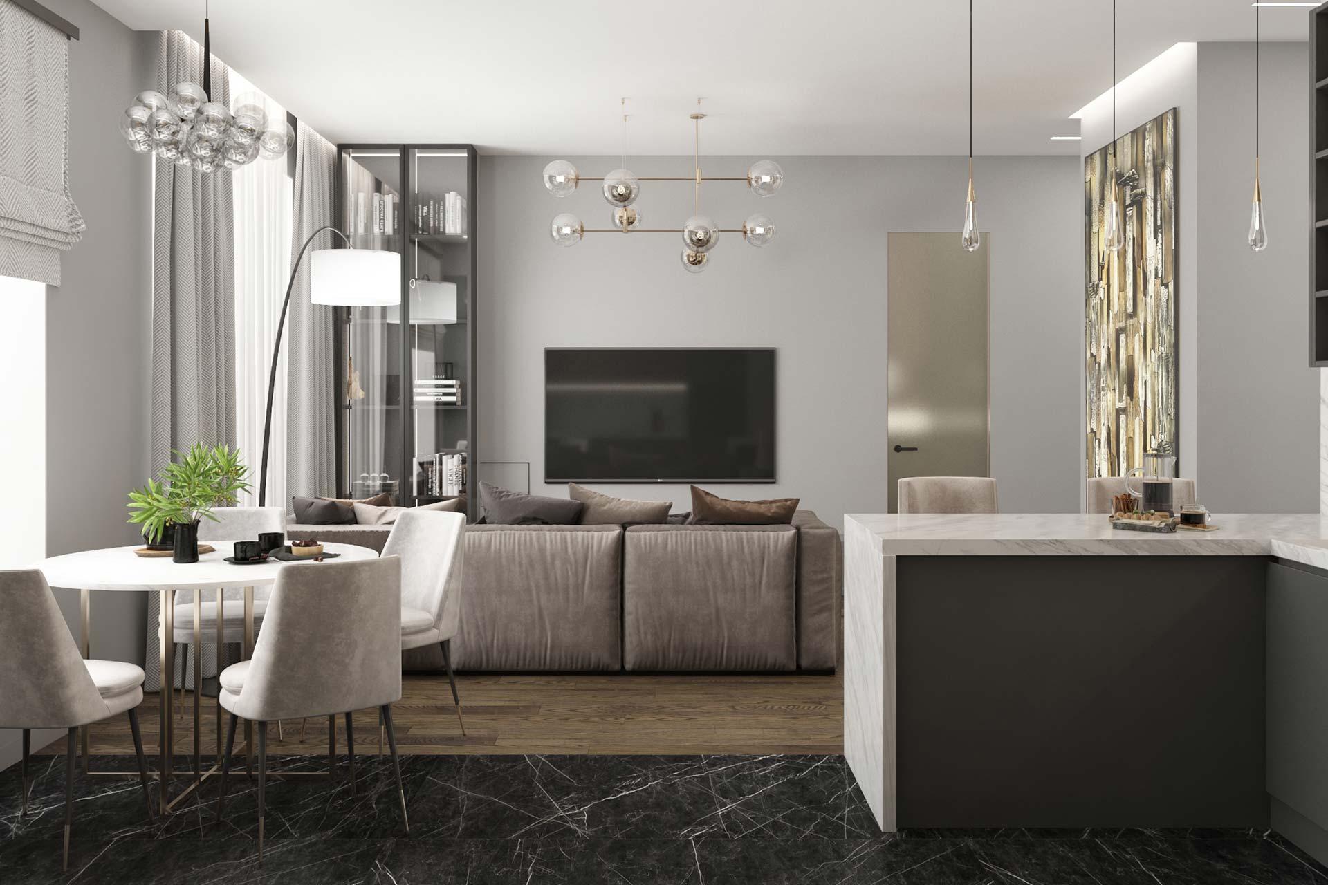 Дизайн 3-комнатной квартиры в ЖК Сити Парк | Дизайн-проект квартиры City Park