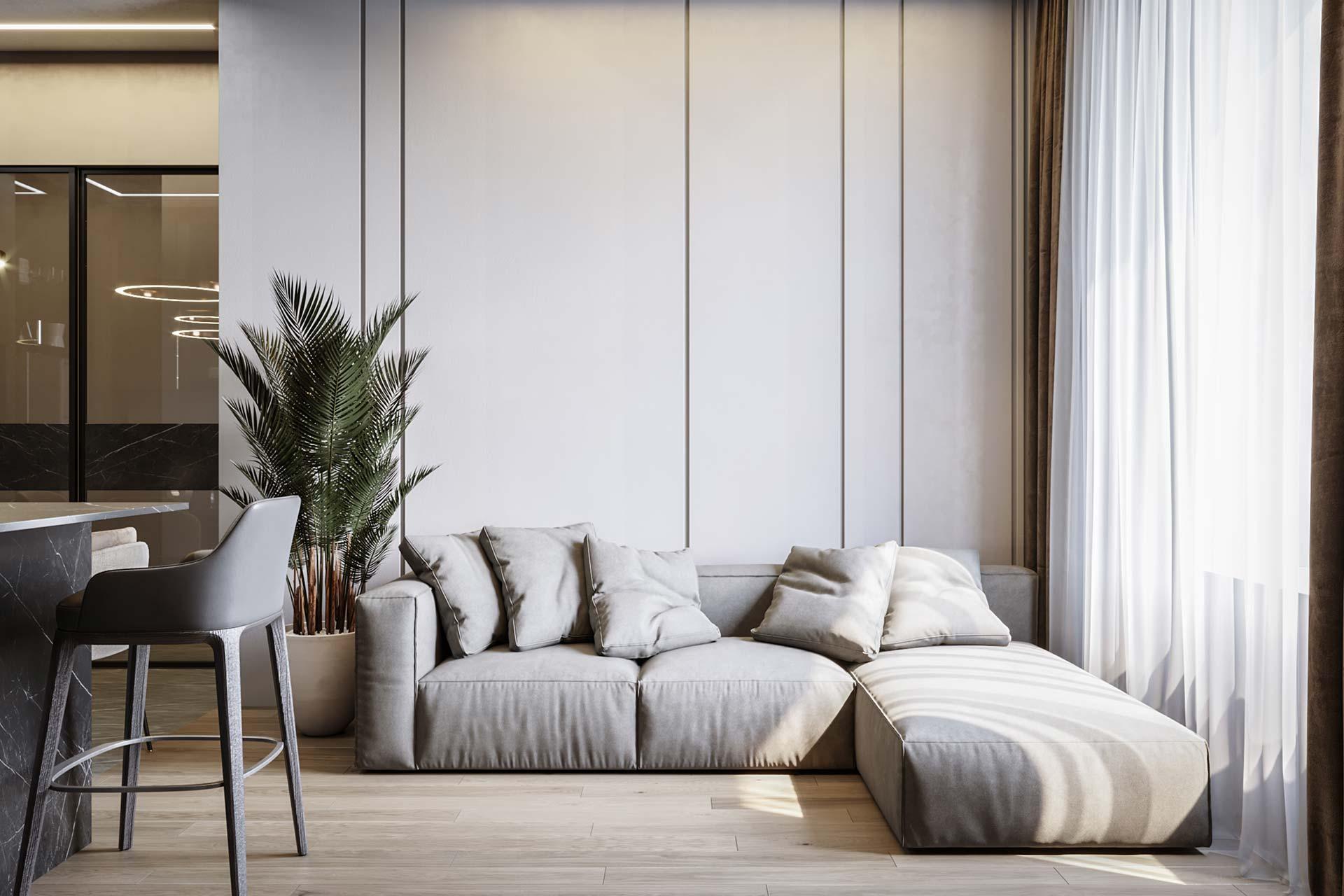 Современный дизайн квартиры в ЖК Сердце Столицы | 3d-визуализации студии ОлимпСтройСервис