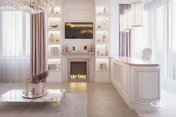 Подбор гостиной в розовых тоназ