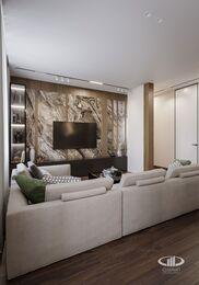 Дизайн интерьера квартиры в ЖК Город на Реке Тушино-2018 | Фото №5 | Кухня-гостиная