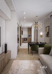 Современный интерьер квартиры в ЖК Достояние фото №2 | Кухня-гостиная