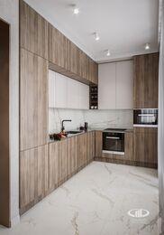 Современный интерьер квартиры в ЖК Достояние фото №3 | Кухня-гостиная