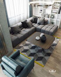 Интерьер трехкомнатной квартиры в современном стиле в ЖК Мосфильмовский | 3d-визуализация №1