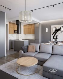 Дизайн интерьера евродвушки в ЖК Царская площадь | Кухня-гостиная 17,7 кв.м. | Фото №1