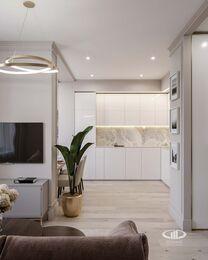 Дизайн интерьера квартиры-студии в ЖК Династия   Фото №1