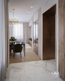 Современный интерьер квартиры в ЖК Достояние фото №1 | Кухня-гостиная