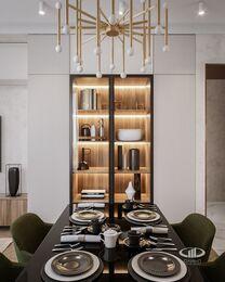 Современный интерьер квартиры в ЖК Достояние фото №5 | Кухня-гостиная