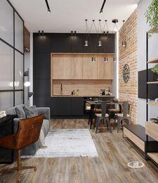 Дизайн квартиры в ЖК ЗИЛАРТ | 3d-визуализация №3 | Кухня-гостиная в стиле Лофт