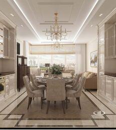 Дизайн евротрешки в ЖК Долина Сетунь   Гостиная-кухня в классическом стиле