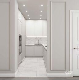 Дизайн интерьера евротрешки | Кухня в белом цвете фото №1