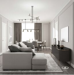 Дизайн интерьера евротрешки | Гостиная в стиле современная классика Фото №2