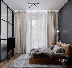 Дизайн квартиры в ЖК ЗИЛАРТ | 3d-визуализация №5 | Спальня в стиле Лофт