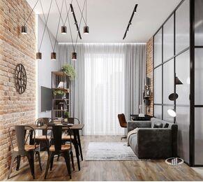 Дизайн квартиры в ЖК ЗИЛАРТ | 3d-визуализация №1 | Кухня-гостиная в стиле Лофт