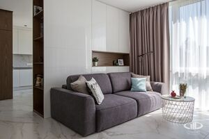 Гостинная   Минимализм в интерьере квартиры реальное фото 1