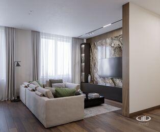 Дизайн интерьера квартиры в ЖК Город на Реке Тушино-2018 | Фото №3 | Кухня-гостиная