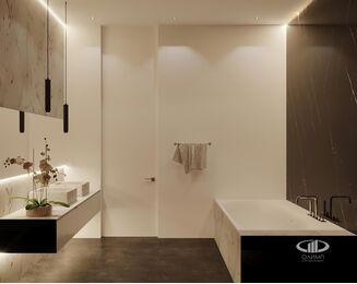 ЗD-визуализация дизайна интерьера квартиры в ЖК Садовые Кварталы в стиле современный минимализм | Фото №16