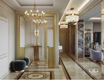3D-визуализация дизайна интерьера квартиры выполненная в стиле Ар-Деко | ЖК Дыхание | Фото №2