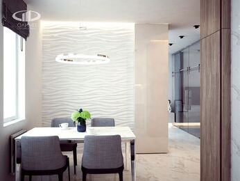 Визуализация интерьера квартиры в современном стиле в ЖК Мосфильмовский 5