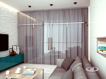 Визуализация интерьера квартиры в современном стиле в ЖК Мосфильмовский 6