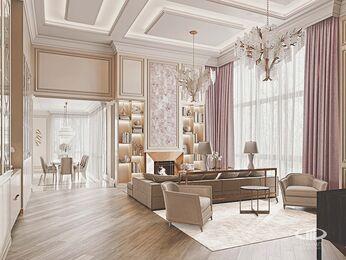 Дизайн интерьера дома в стиле Ар-Деко | Гостиная | Визуализация №1