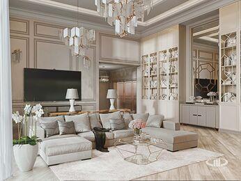Дизайн интерьера дома в стиле Ар-Деко | Гостиная | Визуализация №2
