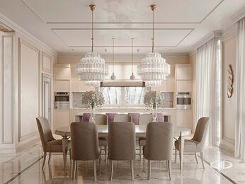 Дизайн интерьера дома в стиле Ар-Деко | Кухня-столовая | Визуализация №1