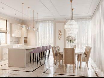 Дизайн интерьера дома в стиле Ар-Деко | Кухня-столовая | Визуализация №2
