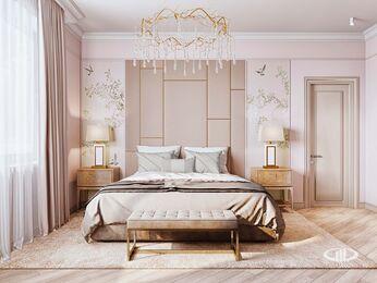 Дизайн интерьера дома в стиле Ар-Деко | Спальня | Визуализация №1