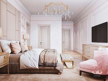 Дизайн интерьера дома в стиле Ар-Деко | Спальня | Визуализация №2