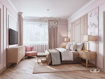 Дизайн интерьера дома в стиле Ар-Деко | Спальня | Визуализация №3