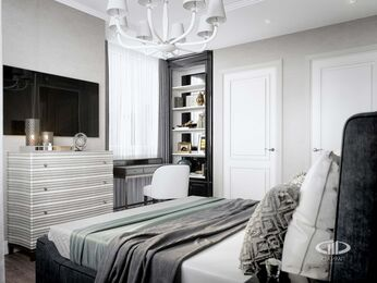 Дизайн двухкомнатной квартиры в ЖК Мосфильмовский   Неоклассика   Фото №10