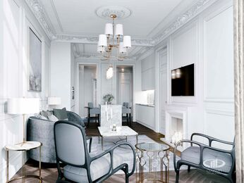 Дизайн интерьера 2-х комнатных апартаментов в МФК Balchug Viewpoint | 3d-визуализация №1