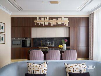 Дизайнерский ремонт квартиры в ЖК Сердце Столицы фото №6 | Кухня-гостиная
