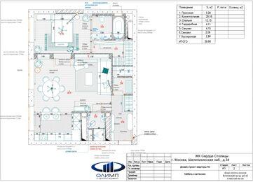 Дизайн двухкомнатной квартиры в ЖК Сердце Столицы в смешанном стиле | Планировка