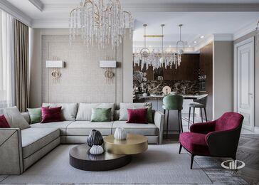 Дизайн интерьера четырехкомнатной квартиры в ЖК Розмарин стиль Ар-Деко | Фото №3