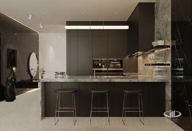 ЗD-визуализация дизайна интерьера квартиры в ЖК Садовые Кварталы в стиле современный минимализм | Фото №4