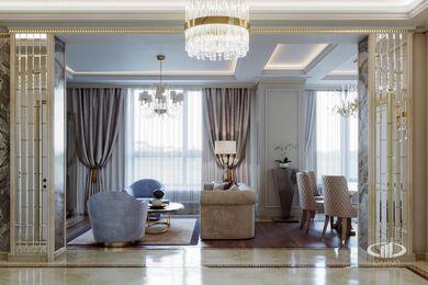 3D-визуализация дизайна интерьера квартиры выполненная в стиле Ар-Деко | ЖК Дыхание | Фото №1