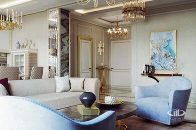 3D-визуализация дизайна интерьера квартиры выполненная в стиле Ар-Деко | ЖК Дыхание | Фото №5