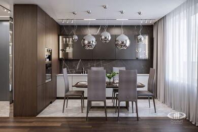 Дизайн интерьера квартиры в ЖК Город на Реке Тушино-2018 | Фото №1 | Кухня-гостиная