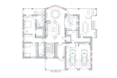 Дизайн интерьера загородного дома в КП Новолеоново   Планировка 1 этаж