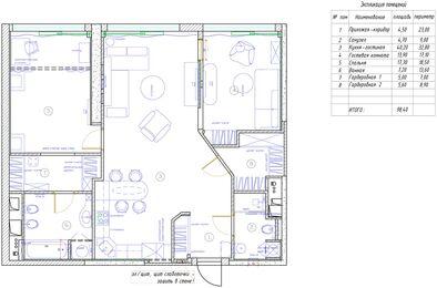 Дизайнерский ремонт квартиры в ЖК Авеню 77 | Планировка